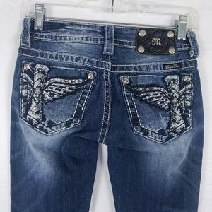 MISS ME Jeans Boot Cut Embellished Wings Cross